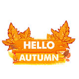 Hello autumn with leaves, drawn banner Royalty Free Stock Photo