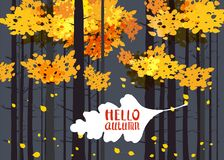 Hello autumn, lettering on an autumn leaf, fall, background landscape forest, tree trunks, template for banner, poster. Hello autumn, lettering on an autumn leaf Royalty Free Illustration