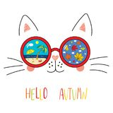 Hello Autumn lettering with cat in glasses stock images