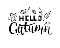Hello autumn lettering hand draw royalty free illustration
