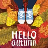 Hello Autumn, Lettering, sneakers, shoes on autumn leaves, autumn leaves, Fall mood, romance, vector, illustration, card. Hello Autumn, Lettering, sneakers Vector Illustration