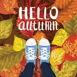 Hello Autumn, Lettering, sneakers, shoes on autumn leaves, autumn leaves, Fall mood, romance, vector, illustration, card. Hello Autumn, Lettering, sneakers Royalty Free Illustration