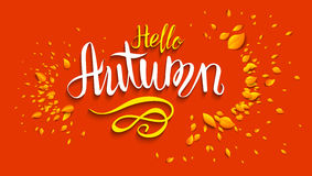 Hello autumn lettering. Template for design banner,ticket, leaflet, card, poster and so on Stock Photography