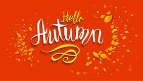 Hello autumn lettering Stock Photography