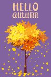 Hello Autumn, Lettering, autumn tree with sending leaves, postcard for Design for posters, postcards, invitations. Hello Autumn, Lettering, autumn tree with stock illustration