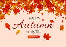 Hello autumn 50% off sale. Promo poster with gold leaves. Hello autumn 50 off sale. Promo poster with gold leaves. Shopping online. Vector background Vector Illustration