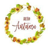 Hello autumn postcard with colorful leaves and sign in italic Royalty Free Stock Photos