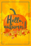 Hello autumn poster with fallen leaves and pumpkin. Royalty Free Stock Image