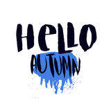 Hello Autumn print with rainy weather concept. Hand drawn vector poster, banner, card with lettering. Stock Images