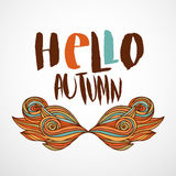 Hello Autumn print with wavy doodle art. Hand drawn vector poster, banner, card with lettering. Stock Photos