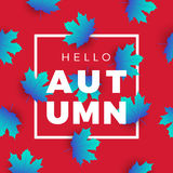 Hello autumn promotion web banner with floral pattern. Promo. Hello autumn promotion web banner with floral pattern. Promo fall season quote layout with maple Stock Photography