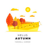 Hello autumn promotion web banner with greeting text. Promo fall Royalty Free Stock Photo