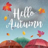 Hello Autumn rainy day. Hello Autumn, rainy day landscape with fall leaves, umbrella, rain, sky with clouds. Autumn Rainy sky, weather, fall season, rain drops Stock Images