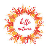 Hello autumn rounded card Royalty Free Stock Image