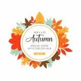 Hello autumn sale design inspiration vector illustration