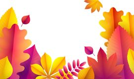 Hello Autumn, sale flyer template for your text. Vector Background of autumn leaves. Promotion. Hello Autumn, sale flyer template for your text. Vector Royalty Free Illustration