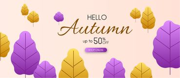 Hello autumn 50% sale. Promo banner with colorful leaves. Hello autumn 50 sale. Promo banner with colorful leaves. Shop online. Vector background Stock Illustration
