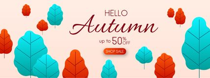 Hello autumn 50% sale. Promo banner with colorful leaves. Hello autumn 50 shop sale. Promo banner with colorful leaves. Vector background Royalty Free Illustration
