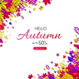 Hello autumn 50% sale. Promo card with colorful leaves. Hello autumn promo card with colorful leaves. Shop online 50 sale. Vector background Stock Illustration