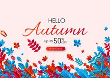 Hello autumn 50% sale. Promo card with colorful leaves. Hello autumn 50 sale. Promo card with colorful leaves. Online shopping. Vector background. r Stock Illustration