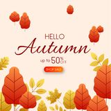 Hello autumn 50% sale. Promo card with golden leaves. Hello autumn 50 sale. Promo card with golden leaves. Vector background. r Stock Illustration