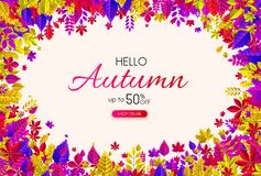 Hello autumn 50% sale. Promo poster with colorful leaves. Hello autumn 50 sale. Promo poster with colorful leaves. Shop online. Vector background. r Royalty Free Illustration