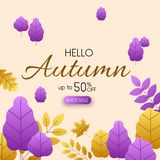 Hello autumn 50% sale. Promo poster with colorful leaves. Hello autumn 50 sale. Promo poster with colorful leaves. Vector background Vector Illustration