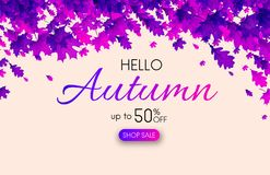 Hello autumn 50% sale. Promo poster with purple leaves. Hello autumn promo poster with purple leaves. Shop 50 sale. Vector background Royalty Free Illustration