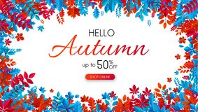 Hello autumn 50% sale. Promo poster with red and blue leaves. Hello autumn promo poster with red and blue leaves. Shop 50 sale. Vector background Stock Illustration