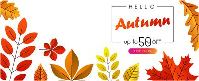 Hello autumn 50% sale. Promotion banner with color leaves. Hello autumn 50 sale. Promotion banner with color leaves. Vector background Vector Illustration