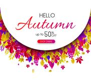 Hello autumn 50% sale. Promotion poster with colorful leaves. Hello autumn 50 sale. Promotion poster with colorful leaves. Shop online. Vector background Vector Illustration