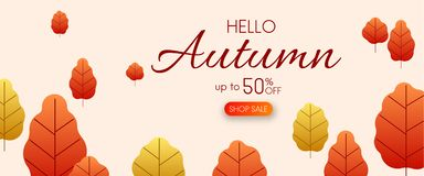 Hello autumn 50% sale. Promotion poster with golden leaves. Hello autumn 50 sale. Promotion poster with golden leaves. Vector background Vector Illustration