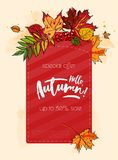 Hello autumn sale background. Hello autumn sale template with colorful leafs and berries. Hand drawn lettering Royalty Free Stock Images