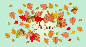 Hello Autumn Season Banner With Hand Draw Lettering Fall Greeting Card Stock Image