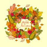 Hello Autumn Season Banner With Hand Draw Lettering Fall Greeting Card. Vector Illustration royalty free illustration