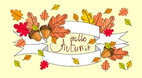 Hello Autumn Season Banner With Hand Draw Lettering Fall Greeting Card. Vector Illustration stock illustration
