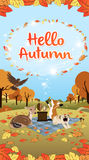 Hello Autumn season greeting long version Royalty Free Stock Photos