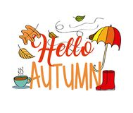 Hello autumn season umbrella boot leaves coffee Royalty Free Stock Images