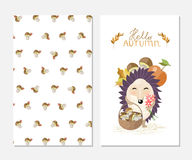 Hello autumn. Stylish inspiration card in cute style with cartoon hedgehog and mashrooms background. Royalty Free Stock Image