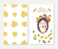 Hello autumn. Stylish inspiration card in cute style with cartoon hedgehog. Template for print design. Stock Photos