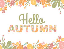 Hello Autumn Text Background. Autumn Letters with floral background Royalty Free Stock Image