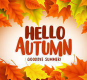 Hello autumn text greetings in vector banner design with colorful maple leaves Royalty Free Stock Photography