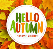Hello autumn text greetings vector banner design with white circle for text Royalty Free Stock Photography