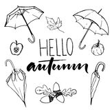 Hello autumn text and sketches of open and closed umbrellas, acorns, pumpkin and half of an apple. Black and white fall Royalty Free Stock Images