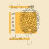 Hello autumn tree sketch Royalty Free Stock Photos