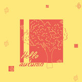 Hello autumn tree sketch Royalty Free Stock Photography
