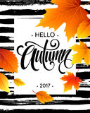 Hello, Autumn. The trend calligraphy. Background of Fall leaves. Concept leaflet, flyer, poster advertising. Vector. Illustration EPS10 Stock Photo
