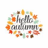 Hello autumn typography design inspiration royalty free illustration