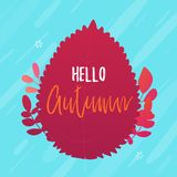 Hello autumn typography poster on red leaf background. New season concept greeting.  stock illustration