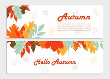 Hello autumn vector banner with beautiful flowers royalty free illustration